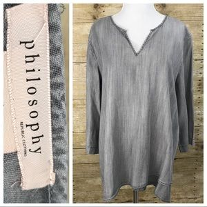 Philosophy Gray Chambray Tunic Top XL ::F8